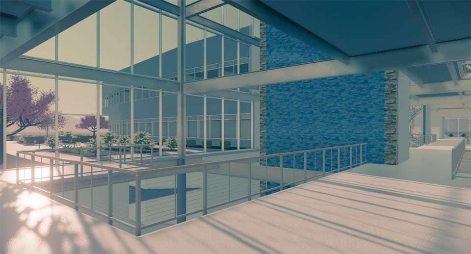 3D-Rendering eines Balkons