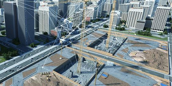 고층 건물로 둘러싸인 대규모 시공 현장의 모델