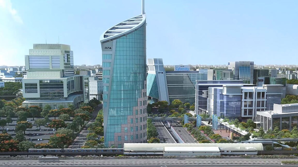 Rendering of CyberCity in India, showing large cylindrical building among other modern office buildings, green spaces, and a light rail station