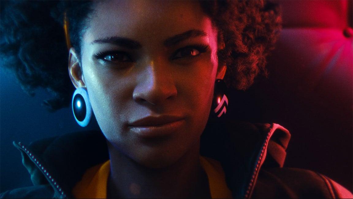 Portretafbeelding van een jonge Afro-Amerikaanse vrouw uit de gametrailer van DEATHLOOP