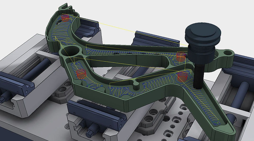 Model of machined part in Inventor user interface with CAM ribbon selected, showing automated toolpath generation