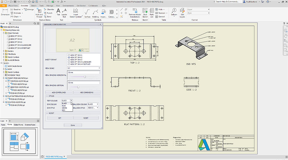 Inventor 2021 user interface with Drawing Configurator open to show how product drawings can be created automatically