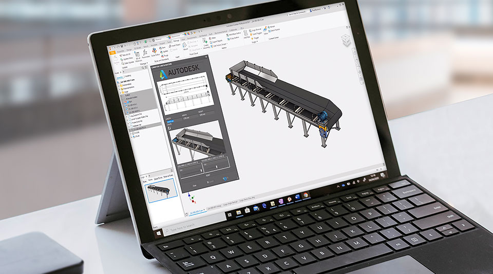 Design of a conveyor in Inventor user interface displayed on a tablet device