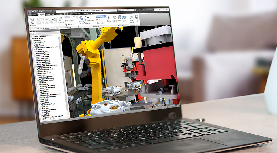 A laptop displaying design manufacturing technology software