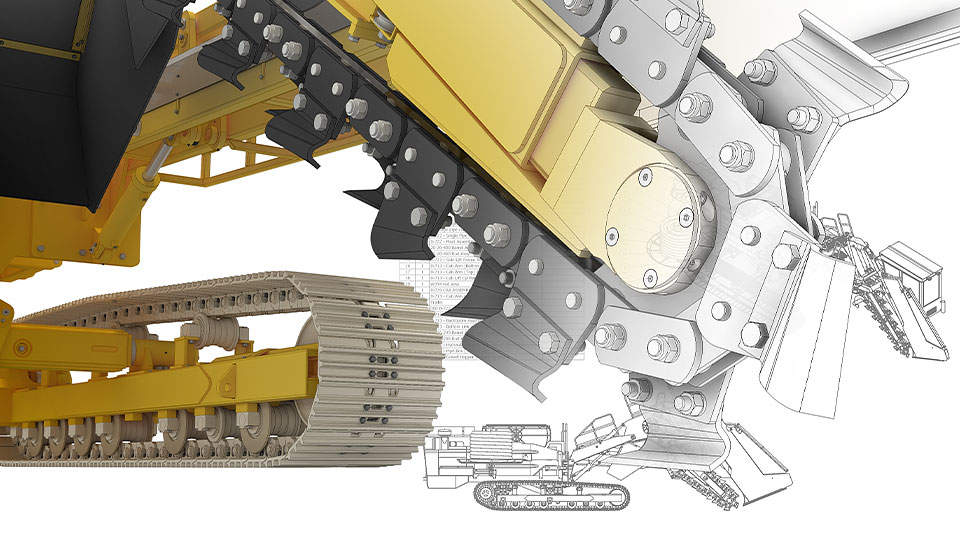 3D design of trenching machine with 2D drawing and bill of materials