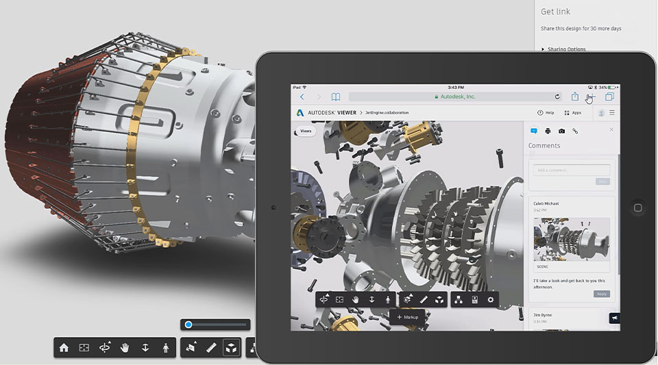 Jet engine design open in tablet window for mobile review