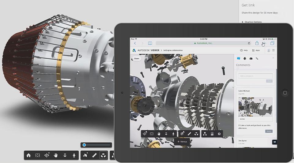 モバイルでのレビュー用にタブレット ウィンドウで開かれたジェット エンジンの設計