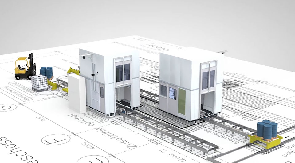 Combined 2D and 3D visualisation of Feige Filling production line
