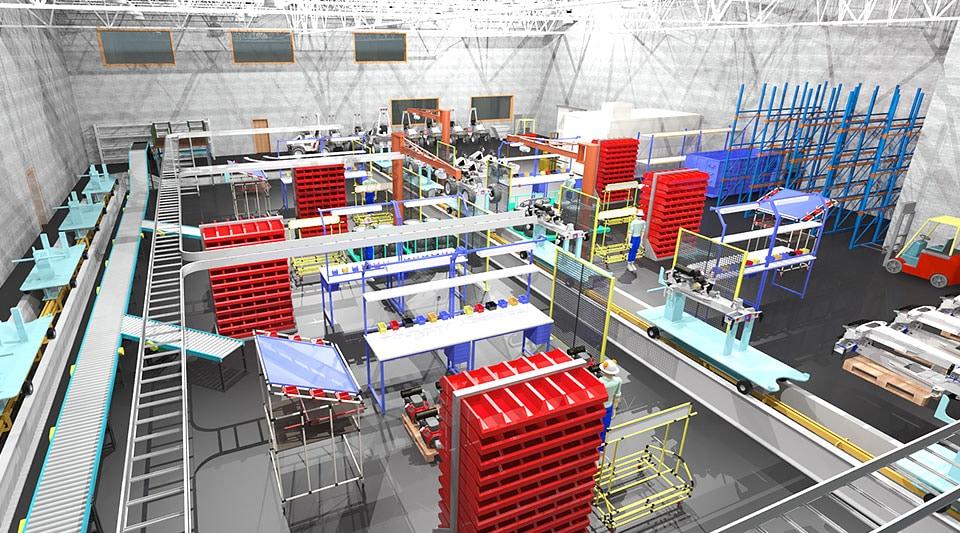 Renderización de la línea de producción de una fábrica para vehículos todo el terreno