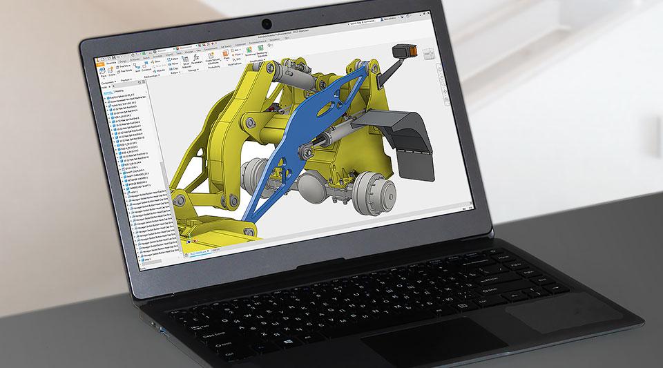 Un portátil que muestra el software de diseño generativo y la interfaz de usuario