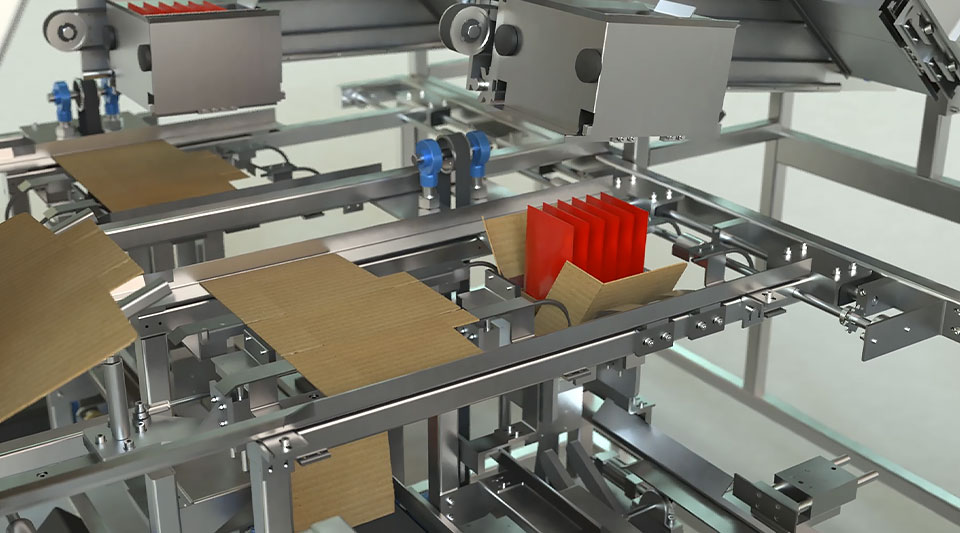 Machinery producing and assembling cardboard boxes