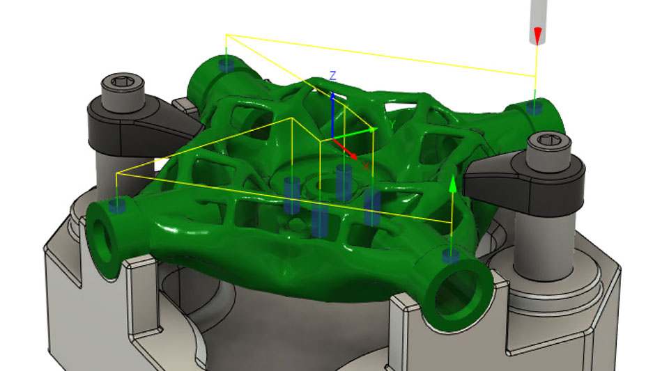 Interfaz de usuario del software de diseño generativo que muestra un modelo de una pieza de la máquina