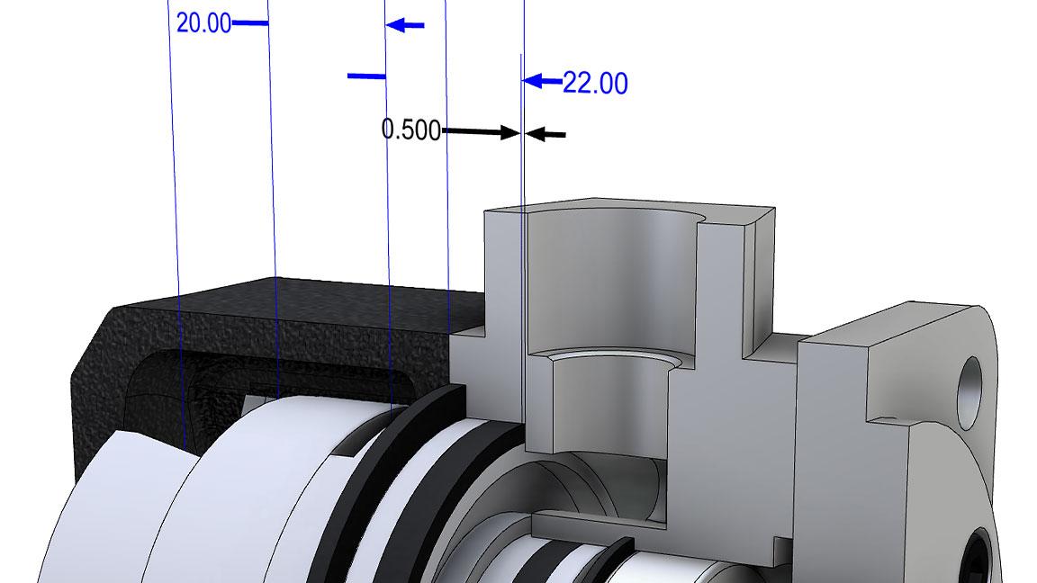 Interface utilisateur d'InventorToleranceAnalysis affichant les détails de l'empilement sur une pièce usinée
