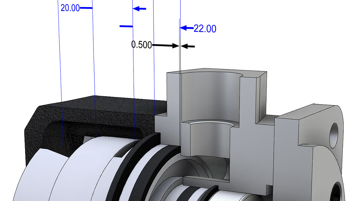 Inventor Tolerance Analysis user interface displaying stack up details on a machine part