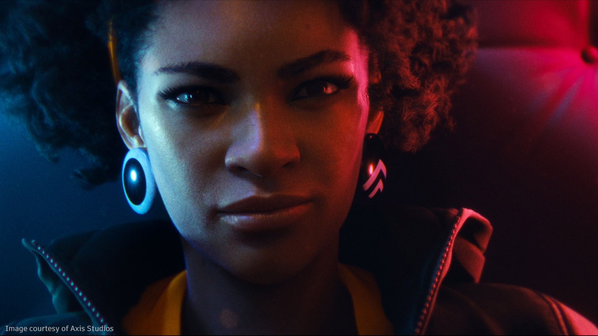 Portrait image of a young African American female character from DEATHLOOP game trailer