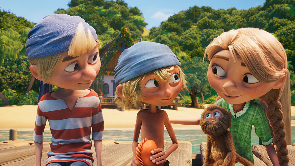 3D animation from Captain Sabertooth of 2 boys, a girl, and a monkey sitting on a wooden pier in a tropical beach setting