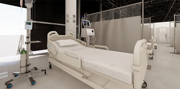 Rendering of a medical facility focused on a hospital bed