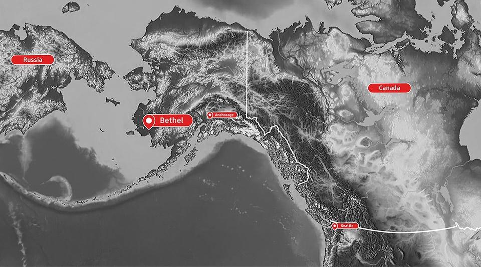 Location of Bethel, Alaska