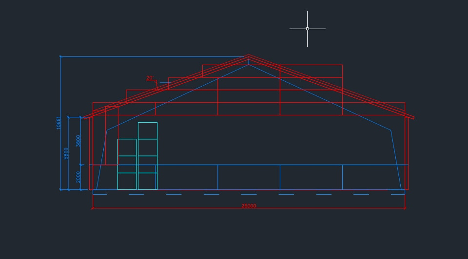 Steel stable designed with AutoCAD