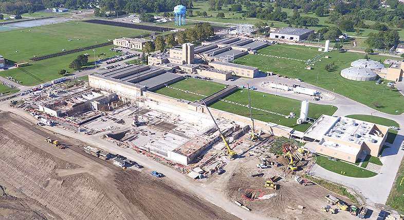 Aerial view of a water treatment plant expansion under construction