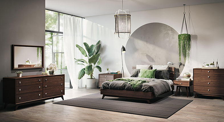 Photo-realistic 3D rendering of a bedroom decorated with contemporary furniture