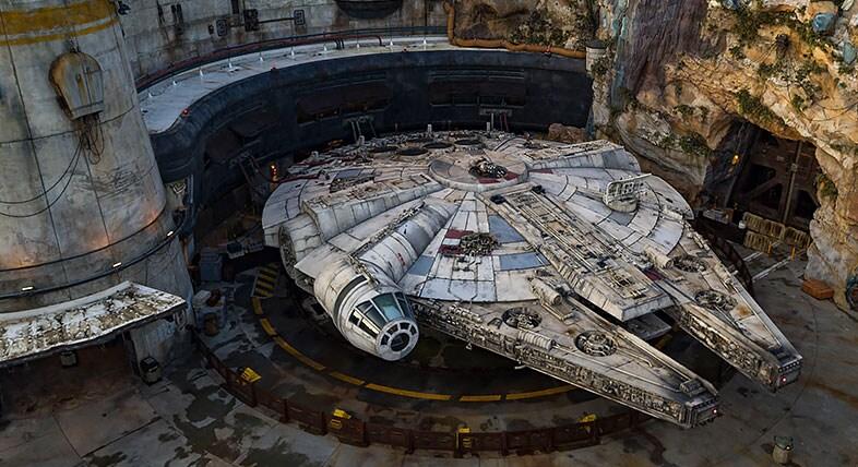 Star Wars Millenium Falcon attraction at a Disneyland theme park