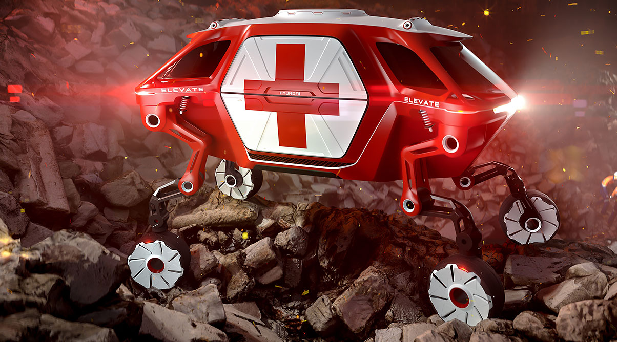 Rendering of an example of Hyundai's mobility vehicle, an ambulance climbing over rocky terrain