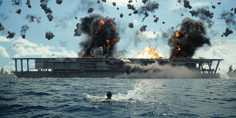 3D visual effects image of a battleship under attack at sea