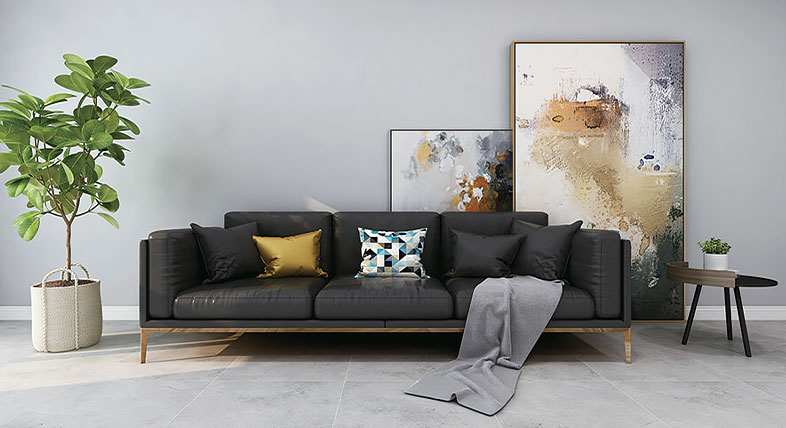 Rendering of a room featuring Vecor's ceramic tile recycled from coal waste