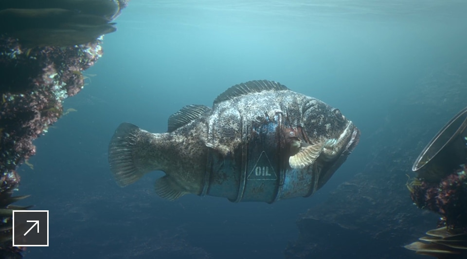 The Metal Of An Oil Barrel Blends With Flesh A Grouper To Form Sea Creature That S Evolved As Hybrid Between Animal And Ocean Debris