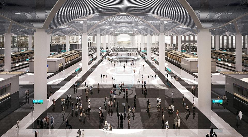 İstanbul Yeni Havalimanının iç mekanların yapılışı. Kaynak: İGA.