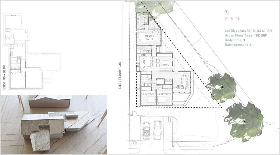 AutoCAD-Hausentwurf und physisches Modell