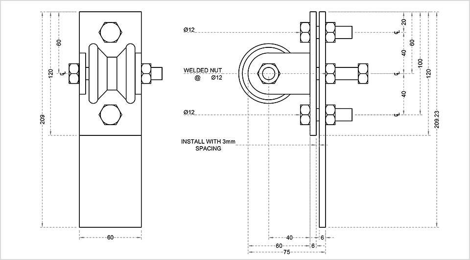 AutoCAD drawing of wheel for set design