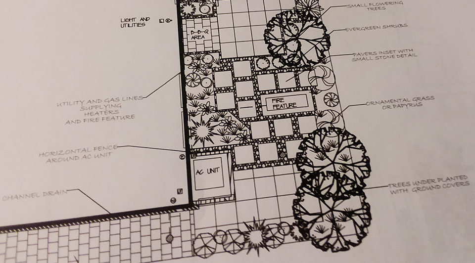 Base plan for landscape design.