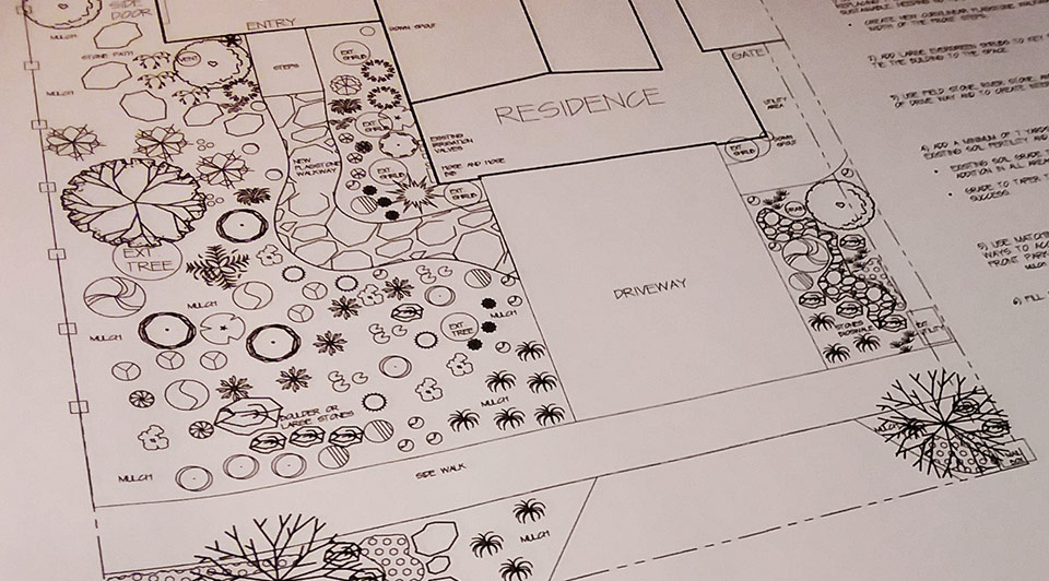 Garden design plans in AutoCAD