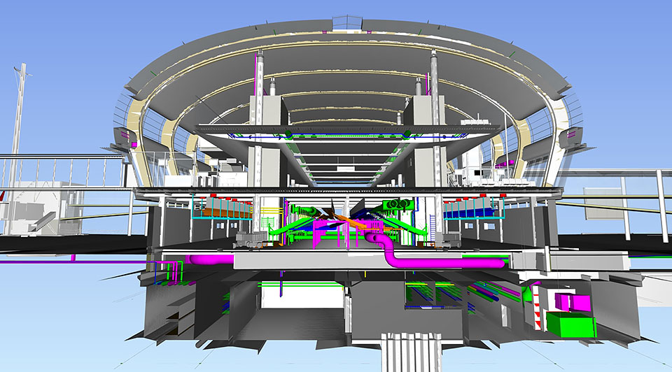 Revit cross-section of terminal building