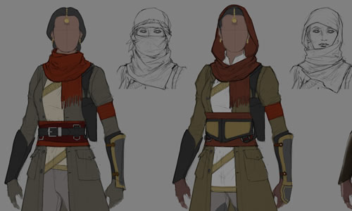 Partial renderings of two female characters next to their rough sketches