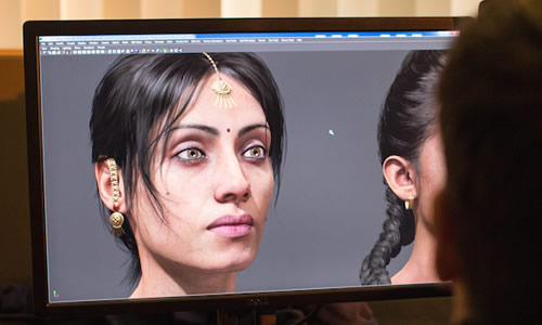 Image of a female character in development, shown on a computer screen.