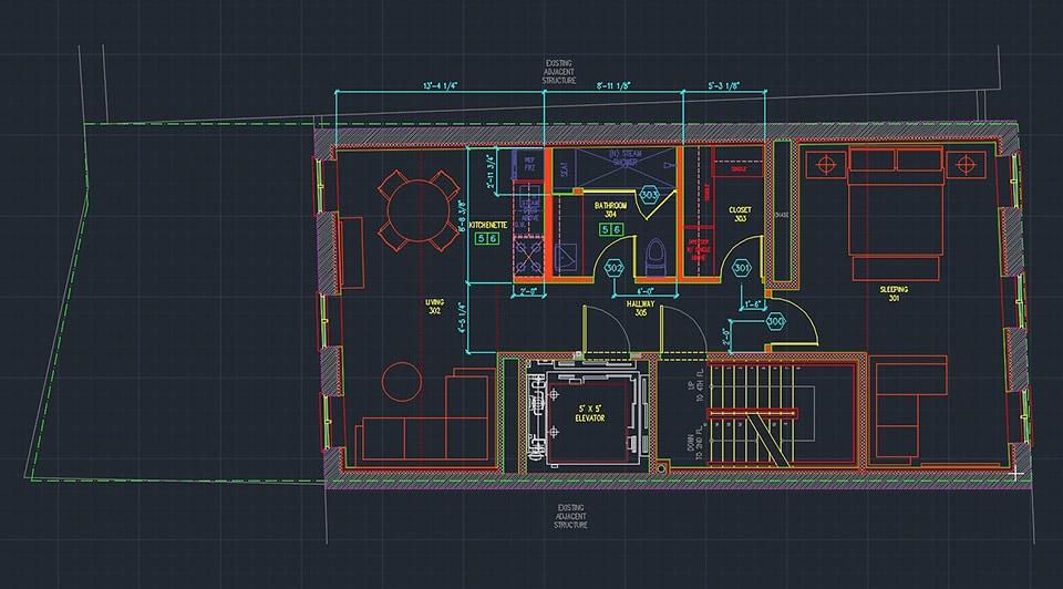 Plan kondygnacji utworzony w AutoCAD