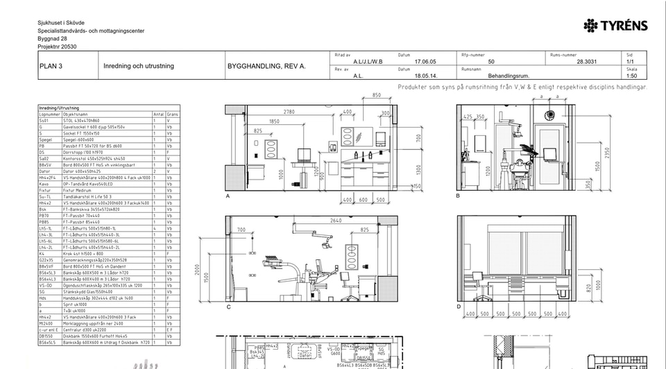 Tandvårdshuset section blueprints from AutoCAD.