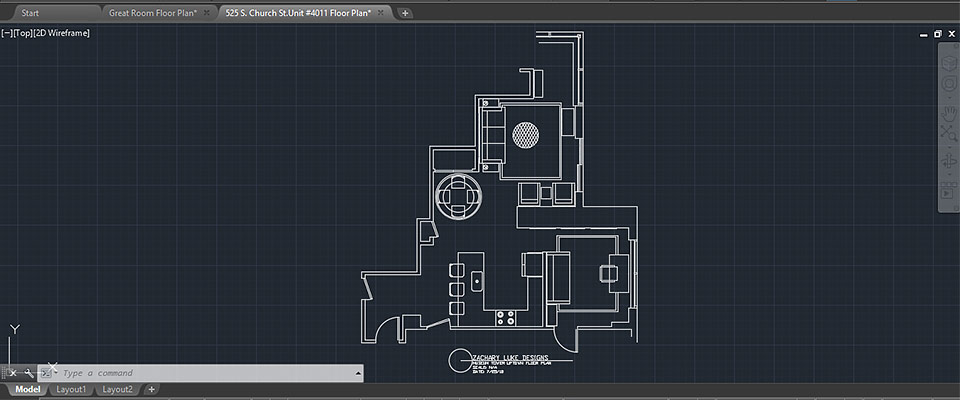 Interior design of condo in AutoCAD