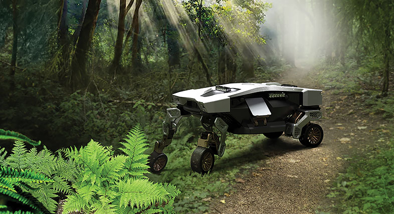 A robotic vehicle in a green lush forest