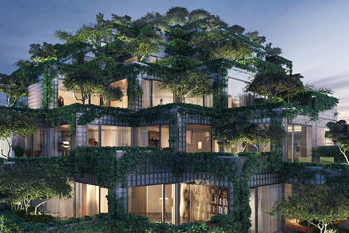 Rendering of the residential units at the KING Toronto urban development, covered with a skin of lush gardens