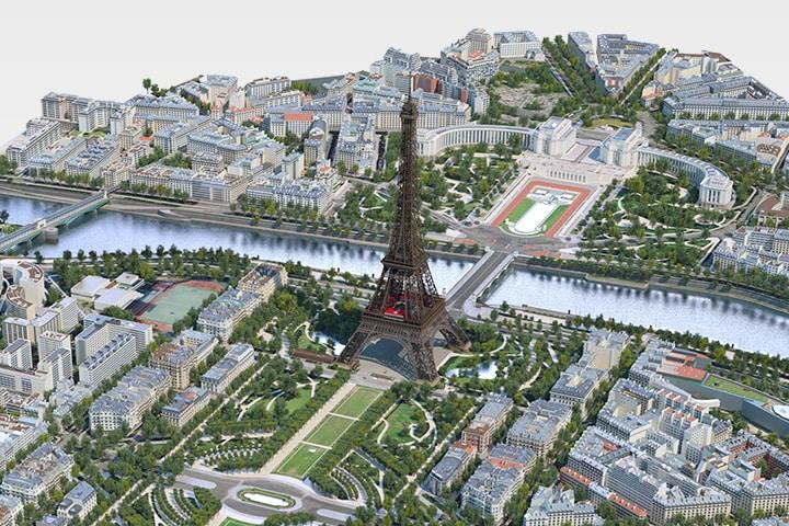 Rendu3D de la Tour Eiffel et des jardins environnants. Image publiée avec l'aimable autorisation de WSP.