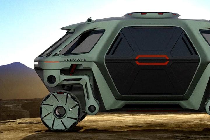 Widok samochodu chodzącego Hyundai Elevate ze złożonymi nogami na kołach. Obraz za zgodą Hyundai Motor Group.