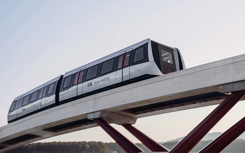 Maglev train on an elevated track. Image courtesy of Max Bögl.