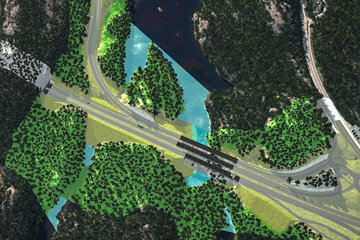 Rendering af designet af Østfoldbanen i Norge. Billedet er stillet til rådighed af Rambøll.