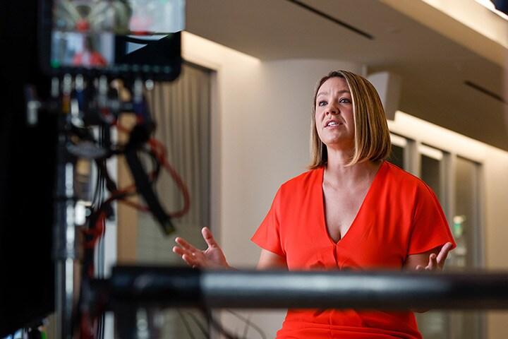 Sarah Hodges, VP of Cloud Environment & Services, presents at the free blackjack games & Entertainment keynote at free money slots no deposit required University