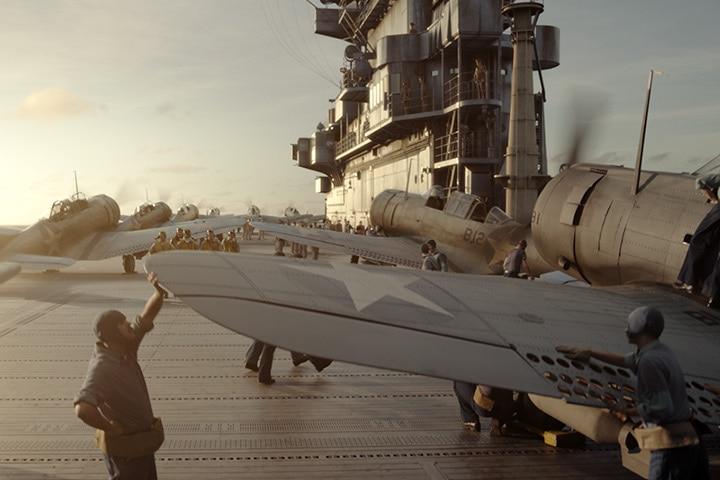 Visual effects shot showing military planes on an aircraft carrier. Image courtesy of Pixomondo.