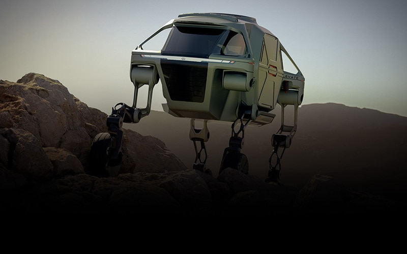 Hyundai Motor Group's design of the ultimate mobility vehicle Elevate, a car that can walk
